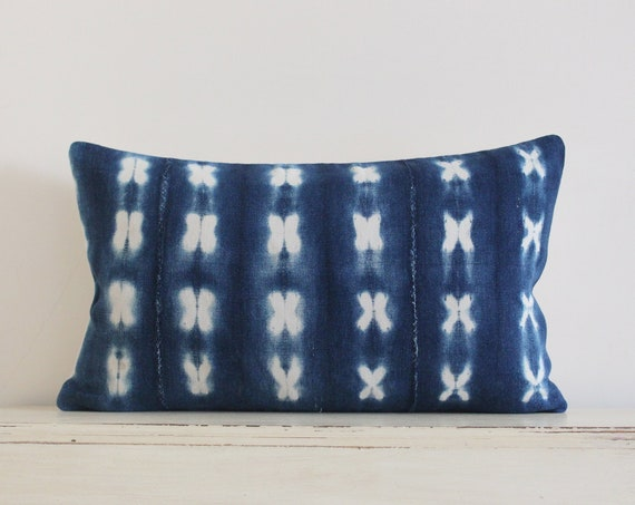 "Vintage indigo shibori African mudcloth pillow / cushion cover 12"" x 20"""