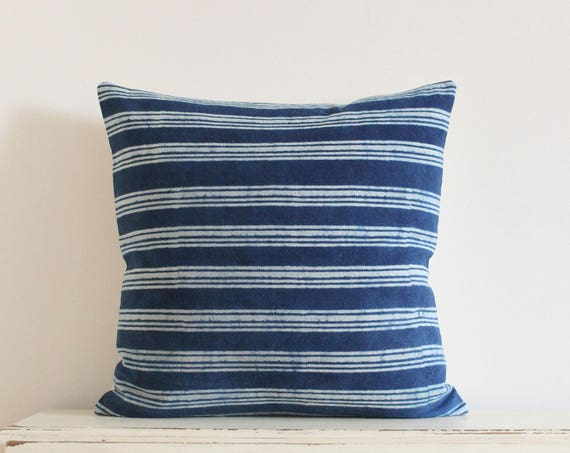 Indigo batik stripe pillow / cushion cover