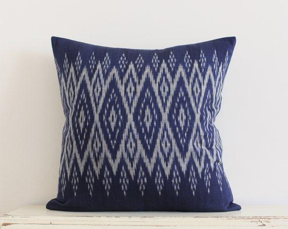 """Thai handwoven dark blue pillow / cushion cover 20"""" x 20"""""""