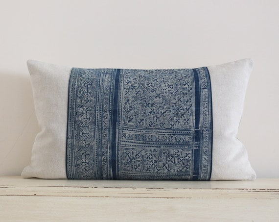 "Vintage Hmong indigo batik pillow / cushion cover 12"" x 20"""