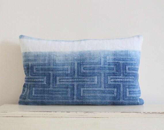 """Vintage Hmong indigo batik pillow / cushion cover 12"""" x 20"""""""