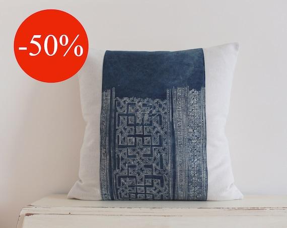 """Vintage Hmong indigo batik pillow / cushion cover 20"""" x 20"""""""