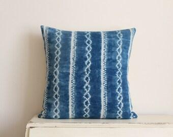 "SALE - Indigo Shibori pillow cushion cover 20"" x 20"""