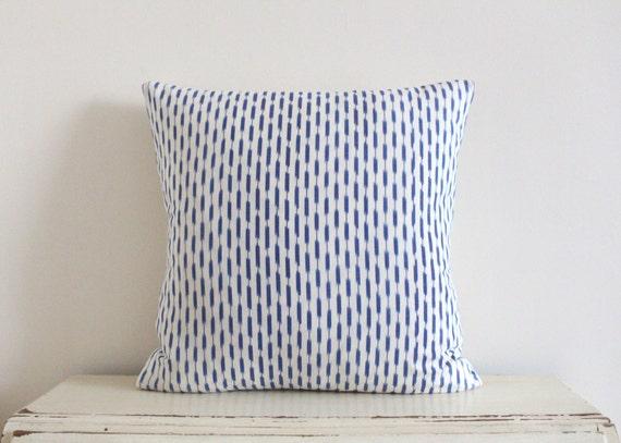 Dash Ikat pillow / cushion cover in denim blue