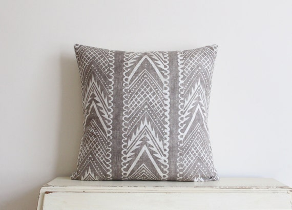 "Block printed chevron pillow cushion cover 20"" x 20"" in latte"