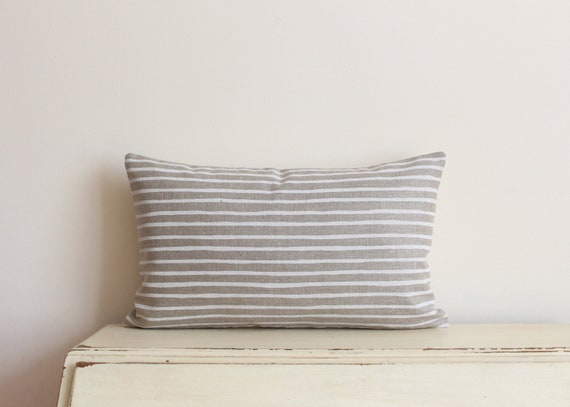 "Hand painted stripe linen pillow / cushion cover 12"" x 20"" in white and tan"
