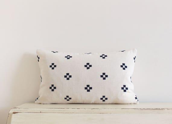 """Thai handwoven black and cream pillow / cushion cover 12"""" x 20"""""""