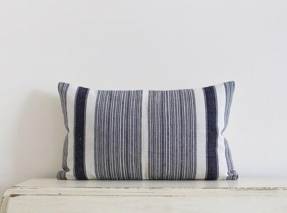 "Vintage handwoven Hmong hemp pillow / cushion cover 12"" x 20"""