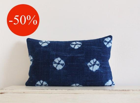 "Vintage indigo shibori African mudcloth pillow / cushion cover 12"" x 20"""