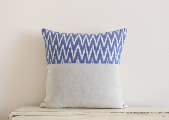 Limited edition ikat pillow cushion cover in cornflower blue and cream
