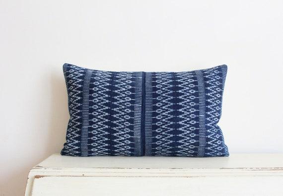 """Indigo batik Hmong pillow / cushion cover 12"""" x 20"""""""