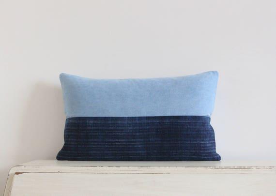 "Vintage Hmong batik and denim pillow / cushion cover 12"" x 20"""