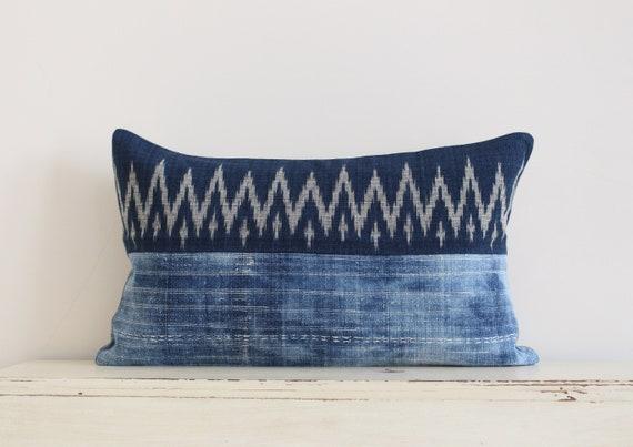 """Vintage Hmong batik and Thai handwoven indigo pillow / cushion cover 12"""" x 20"""""""