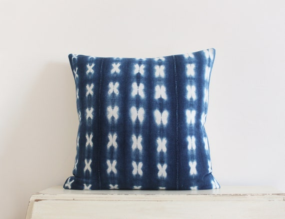 "Vintage indigo shibori African mudcloth pillow / cushion cover 20"" x 20"""