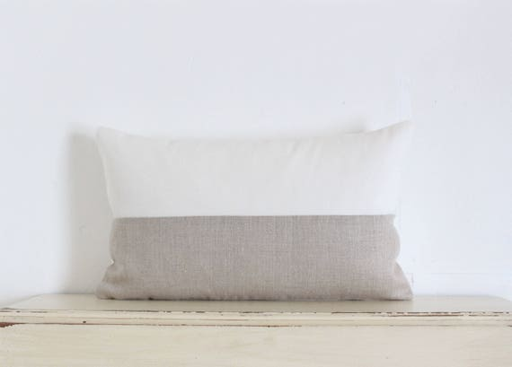 "White and natural linen colour block pillow / cushion cover 12"" x 20"""