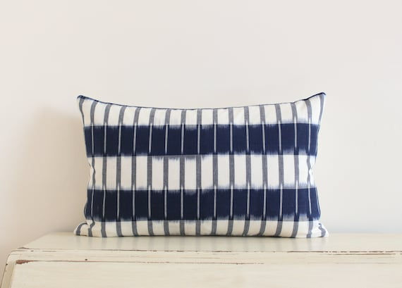"""Handwoven striped blue and cream ikat pillow / cushion cover 12"""" x 20"""""""