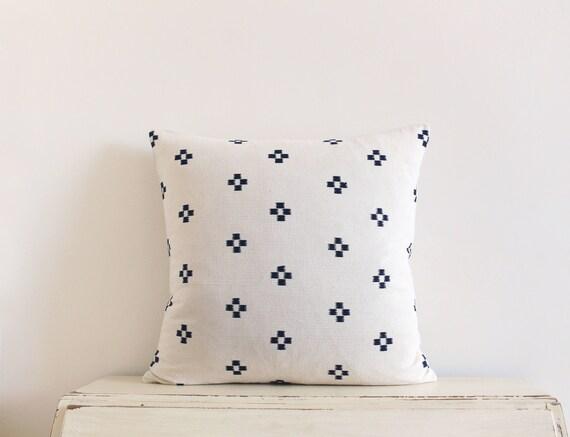 """Thai handwoven black and cream pillow / cushion cover 20"""" x 20"""""""
