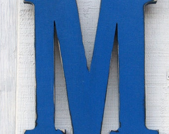 "Kids Name Wooden Letters M Distressed Painted True Blue,12"" tall Wood Name Letters, Custom Wedding Gift"