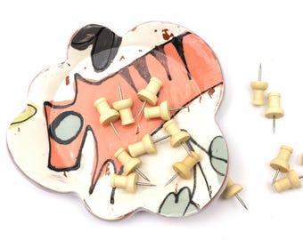 Salmon-Orange Tiger Cat Scallop Dish | Spoon Rest | Jewelry Dish | Candle Holder | Small Dessert Plate | Soap Dish | Ring Dish | Small Dish