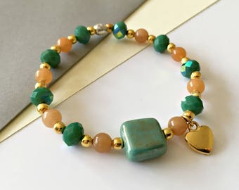 CLEARANCE Green Glass and Orange Aventurine Stretch Bracelet, Stretchy Bracelet, Layering Bracelet, Stacking Bracelet, Beaded Bracelet