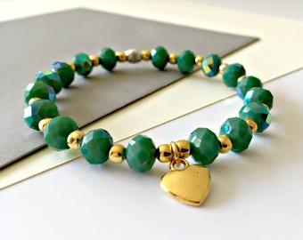 CLEARANCE Green Bracelet, Stretchy Bracelet, Layering Bracelet, Stacking Bracelet, Beaded Bracelet, Green and Gold Stretchy Bracelet