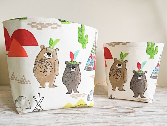 Tee-Pee Wigwam & Bears Storage Basket, Fabric Bin, Reversible Storage Basket, Kids Storage, Nursery Storage, Storage Basket, New Baby