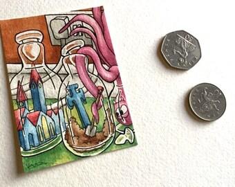 Octopus bottles illustration grave church miniature art ATC Gift Art Trading Card Whimsical - Original ART ACEO Watercolor - Katie Hone