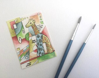 Giraffe kandinsky colorful geometric shapes miniature art ATC Gift Art Trading Card Whimsical - Original ART ACEO Watercolor - Katie Hone