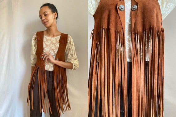 70's fringed suede brown leather 'cropped' vest OS