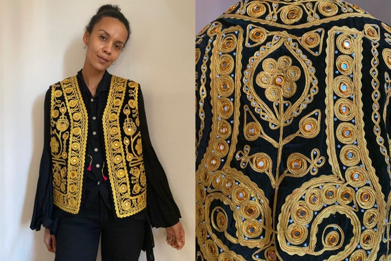 70's Turkish velvet gold embroidered pearled front