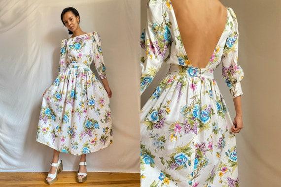 80's open back cotton floral print puff shoulders