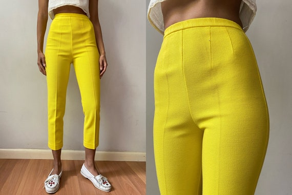 50's high waist ribbed yellow capri cigarette pant