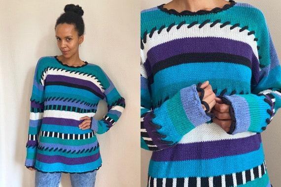 90's bold stitch mixed print purple blue black whi