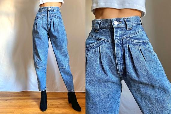 80's acid wash pleated high waist trouser cut jean