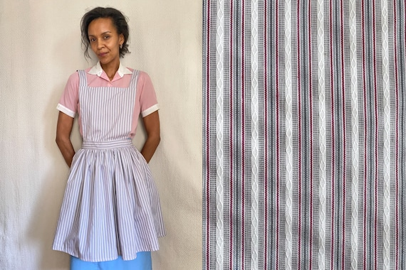 50's retro striped red white blue cotton apron