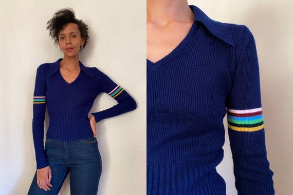 70's retro striped navy collared light knit sweate