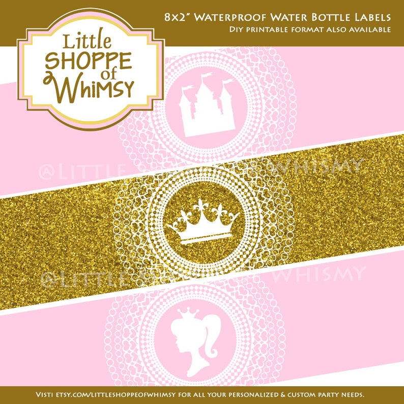 Waterproof Water Bottle Labels Princess Castle Crown Pink Glitter Gold