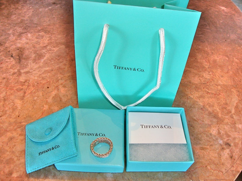 b2058f3a8f2cb Authentic TIFFANY & CO SOMERSET 925 Vintage Sterling Silver Band Ring With  Bag Box Pouch and Care Of Sterling Silver Card Size 8.5