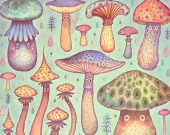 Fun, Fun, Fungi - A4 Art print