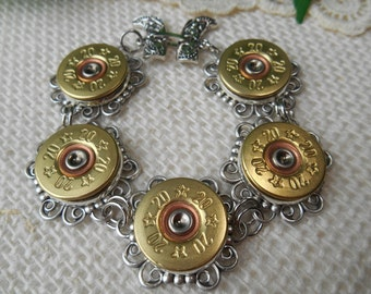 Shotgun Shell Jewelry ~ 20 Gauge Stars ~ Swarovski Crystals ~ Cowgirl Boots ~ Bohemian Cowgirl Stacker Layering Bracelet
