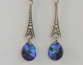 SALE! Antique silver vintage style earrings with heliotrope blue purple swarovski crystals, long dangle earrings, teardrop earrings