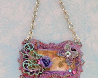 SALE! Pink, lavender and aqua butterfly necklace, vintage style hand painted frame pendant,swarovski crystal flower butterfly leaf pendant
