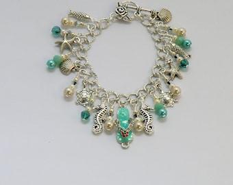 Beach life charm bracelet, aqua turquoise rhinestone flip flop enamel charm, turtles, seahorses, fish, shells, starfish charms, ocean sea