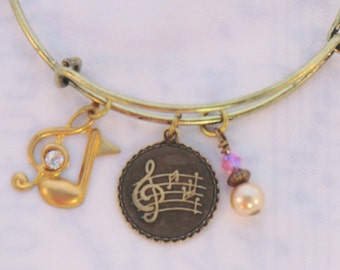 SALE! Antique brass music charm stackable bangle, clef note charms with rhinestones, pearls and crystals stackable music note charm bracelet