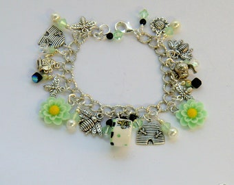 Mint green bumblebee tea charm bracelet, bee skeps and flower charm bracelet, china bumblebee cup, teapot charms, black white check and dot