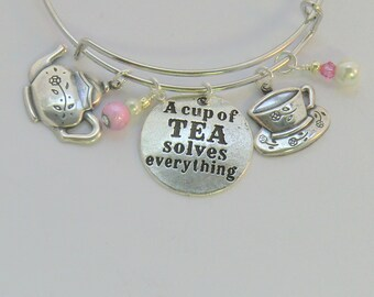 Cup of Tea Solves Everything bangle, antique silver and pink flower teapot and teacup charm bangle, tea time jewelry, crystal pearl bangles