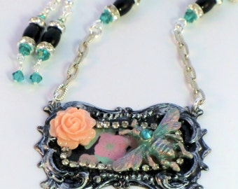 SALE! Bumble bee and flower assemblage necklace and earring set, pink, mint and black hand painted silver decoupage frame pendant, vintage