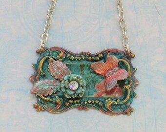 SALE! Vintage style teal butterfly, leaf flower charm necklace, silver pearl chain russet hand painted assemblage Victorian framed necklace