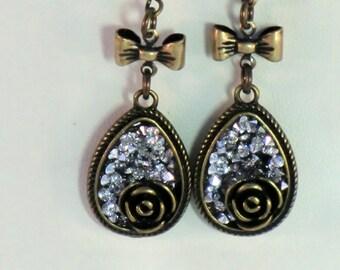 SALE! Vintage style antique brass rose charm earrings, rhinestone studded teardrop brass bow earrings, boho flower drop earrings, gifts