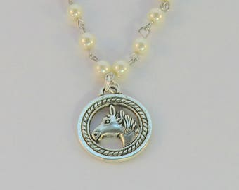 SALE! Detailed horse charm necklace, silver and pearl round horse pendant necklace, western equine jewelry, gifts under 20, charm necklaces